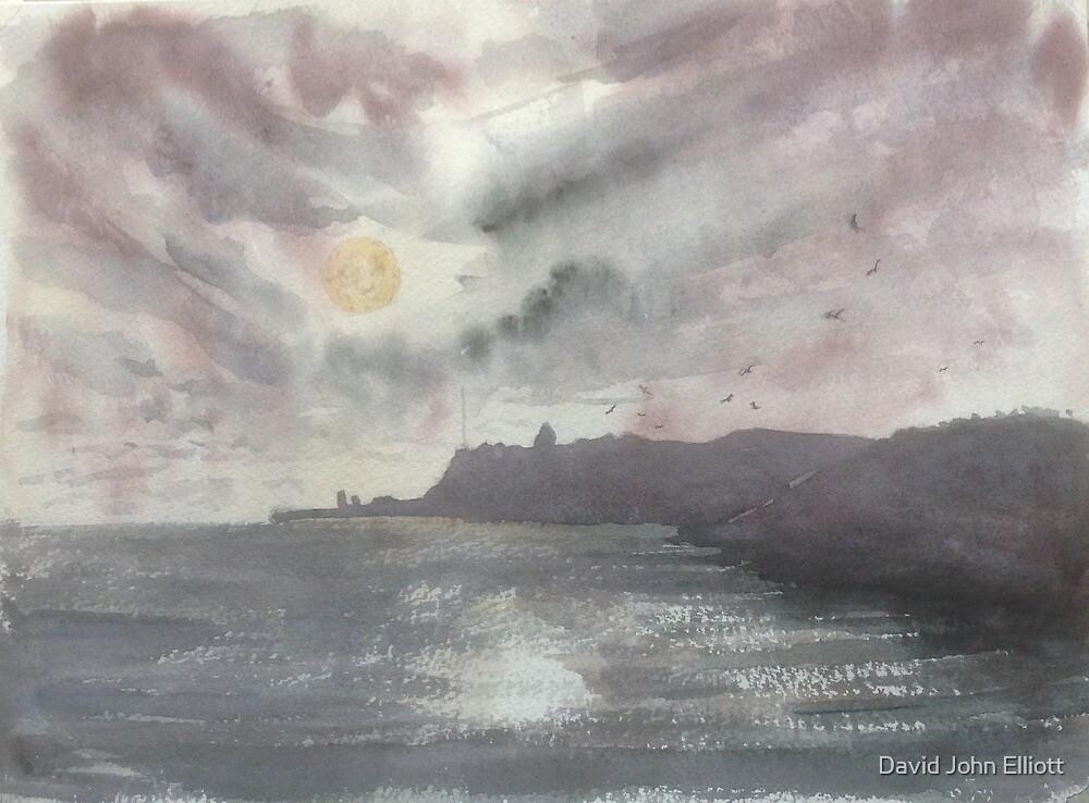 Whitby Abbey in moonlight by David John Elliott