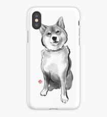 The perfect Shiba Ibu, Japanese Dog Sumi-e Painting Ink Zen Print Drawing Dog Lover Wall Deco Pet Brush illustration B&W iPhone Case