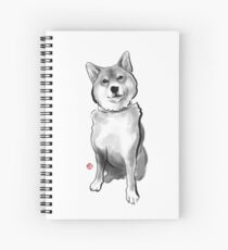 The perfect Shiba Ibu, Japanese Dog Sumi-e Painting Ink Zen Print Drawing Dog Lover Wall Deco Pet Brush illustration B&W Spiral Notebook