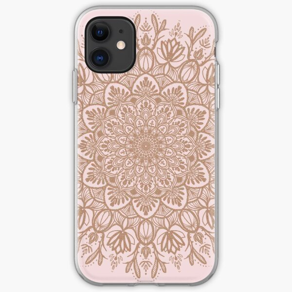 Rose Gold Beige Mandala iPhone Soft Case