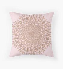 Rose Gold Beige Mandala Throw Pillow