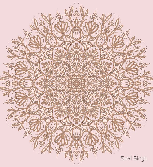Rose Gold Beige Mandala by Savi Singh