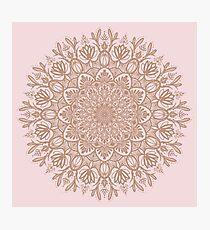 Rose Gold Beige Mandala Photographic Print
