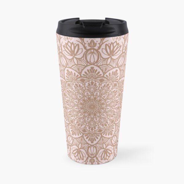 Rose Gold Beige Mandala Travel Mug