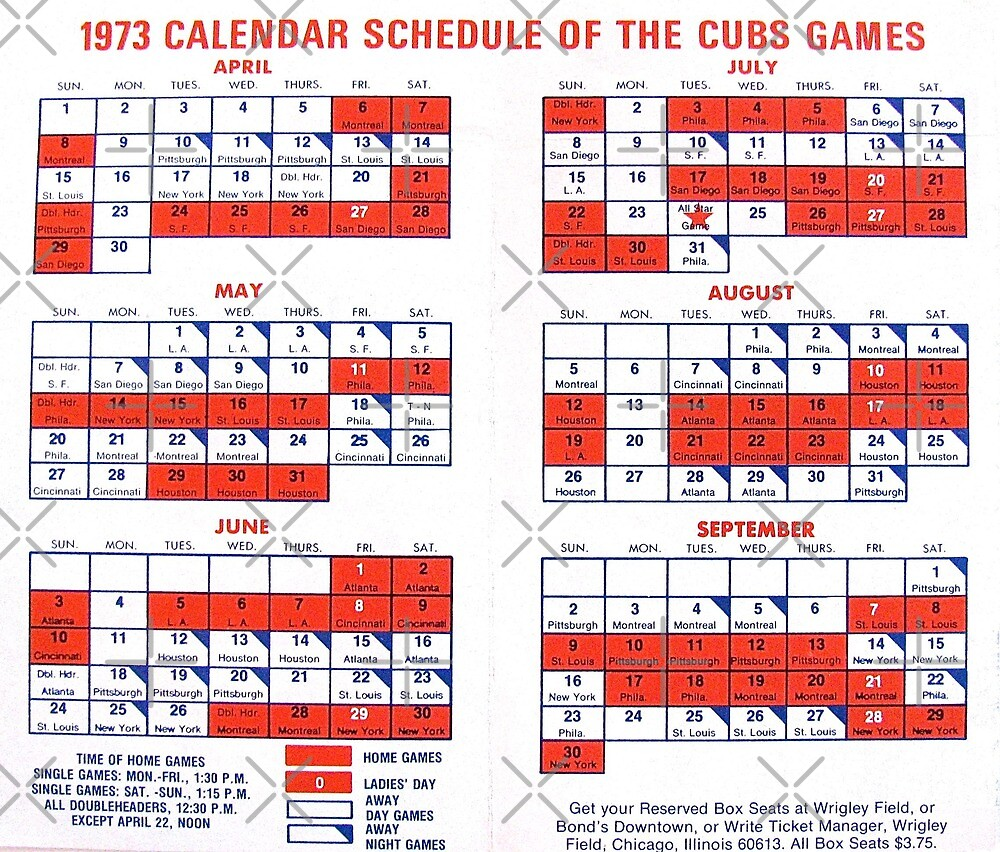 1973 Cubs Baseball Schedule by collageDP