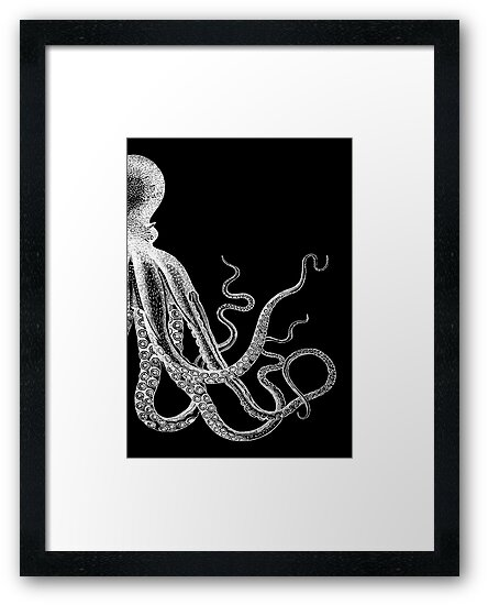 Half Octopus | Black and White | Right Side by EclecticAtHeART