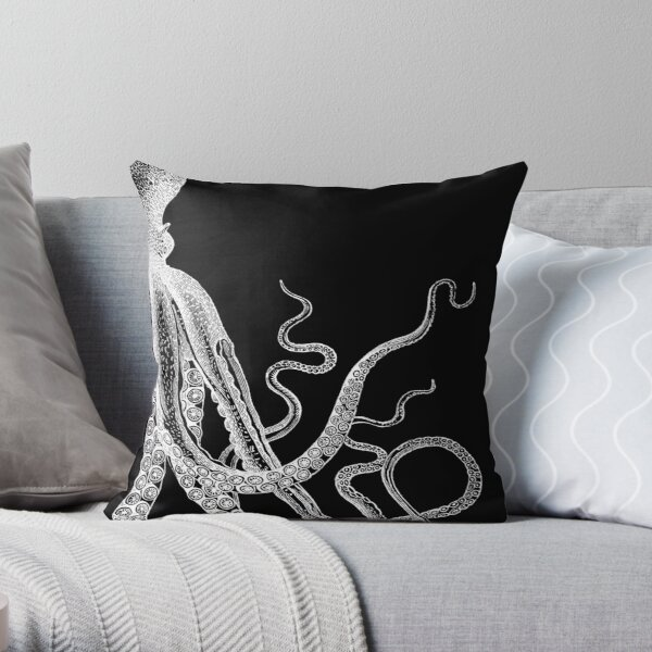 Half Octopus | Right Side | Vintage Octopus | Tentacles | Sea Creatures | Nautical | Ocean | Sea | Beach | Diptych | Black and White |   Throw Pillow