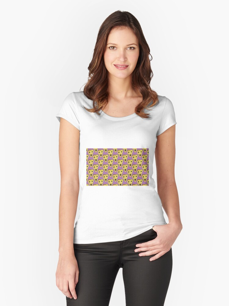 pizza sunflower pattern Women's Fitted Scoop T-Shirt Front