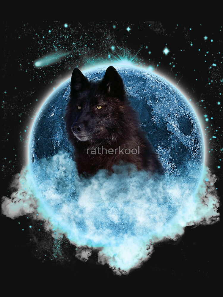 Black Wolf Blue Moon Dream Catcher by ratherkool