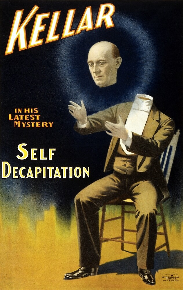 Vintage Magician Harry Kellar Self Decapitation by pdgraphics