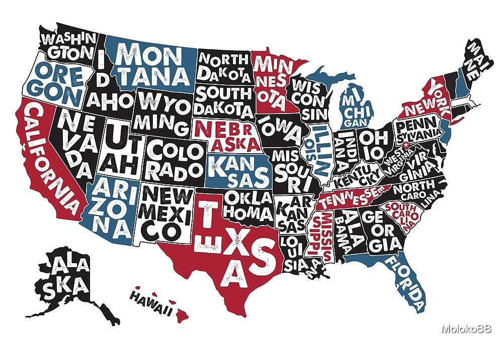 Poster map of United States of America with state names. by Moloko88