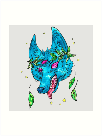 Space Coyote with Leaf Crown by HiddenStash