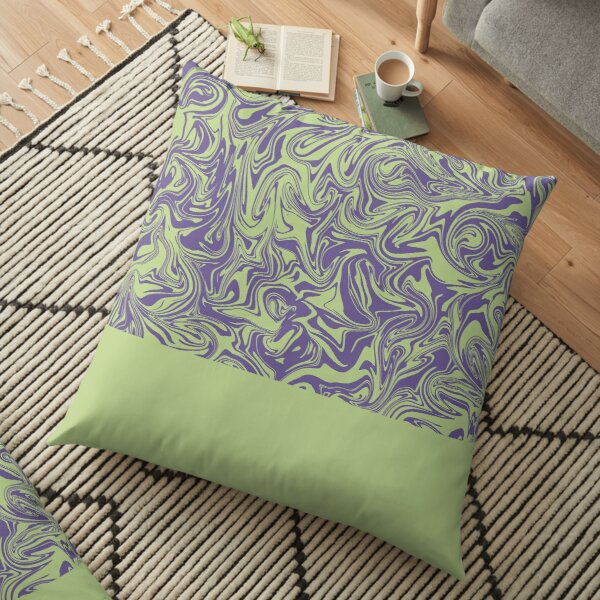 Liquid Swirl - Lettuce Green and Ultra Violet Floor Pillow