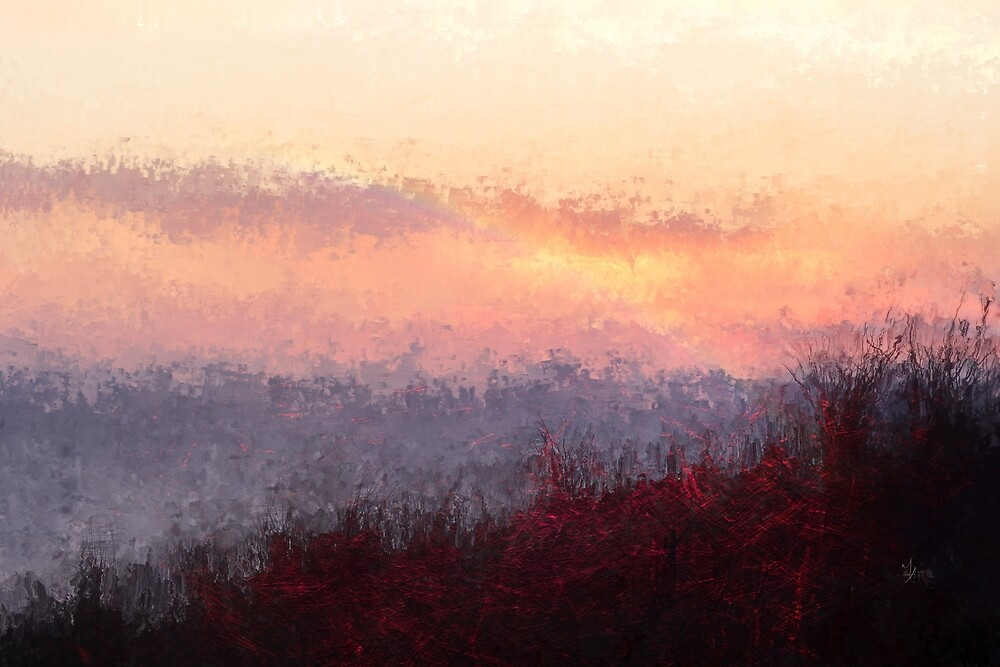 Sunset - mixed media artwork by Mike Ahrens