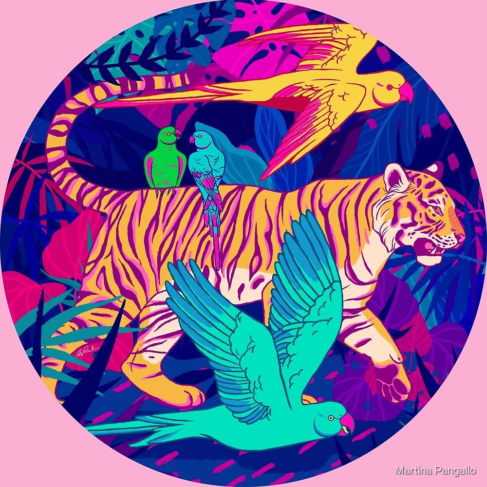 Tiger and Parakeets by Martina Pangallo
