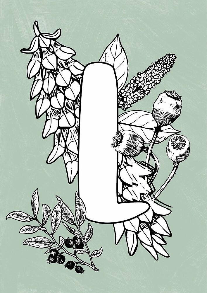 Alphabet vintage floral botanical letter L by katietails
