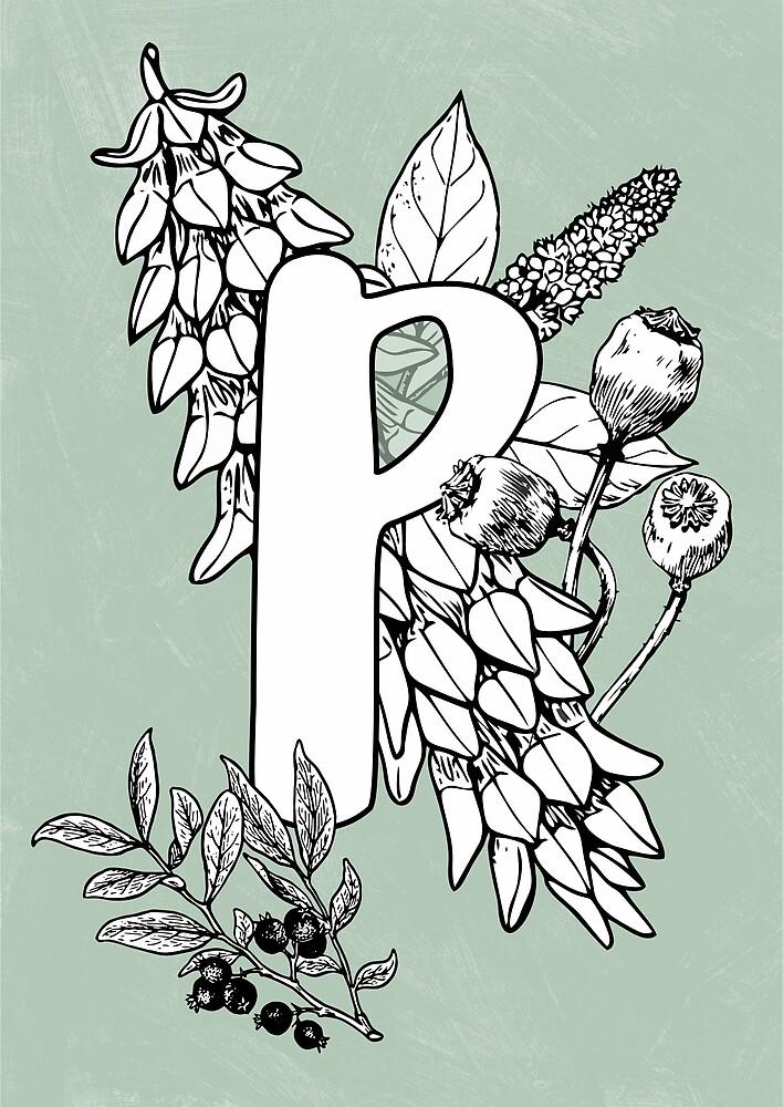 Alphabet vintage floral botanical letter P by katietails