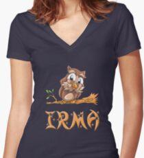 Irma Owl Women's Fitted V-Neck T-Shirt