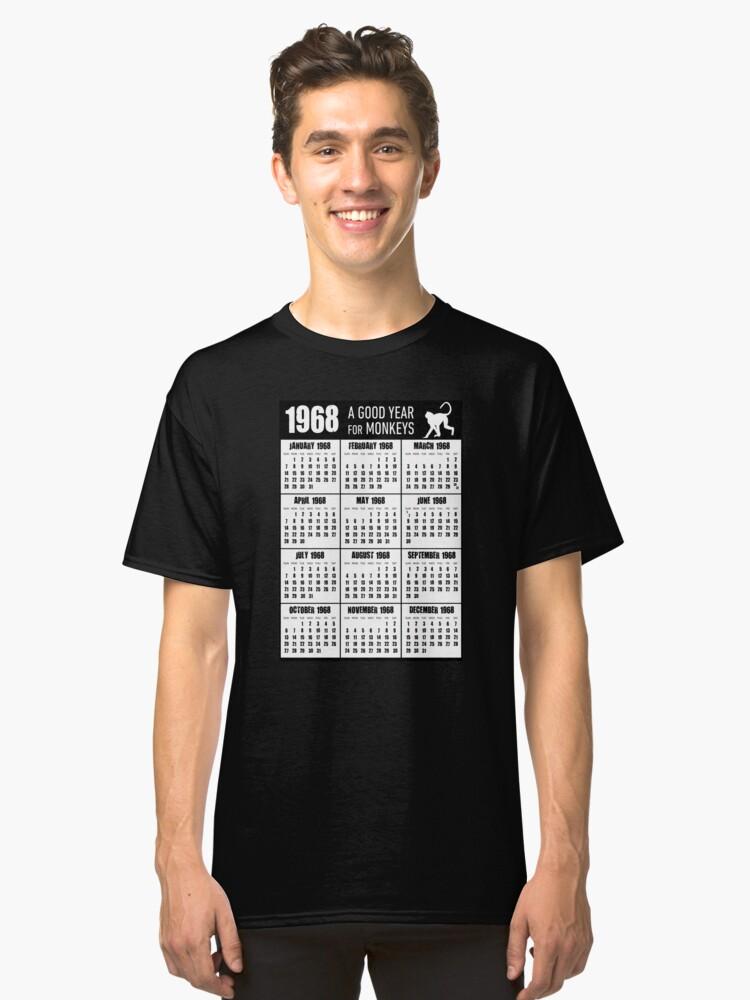 1968 A Good Year for Monkeys 50th Birthday Calendar T-shirt Classic T-Shirt Front