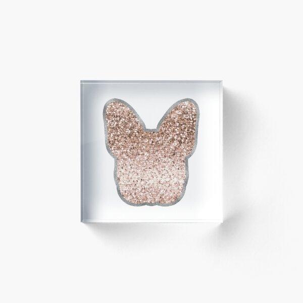 Sparkling rose gold French Bulldog - graphite silver Acrylic Block