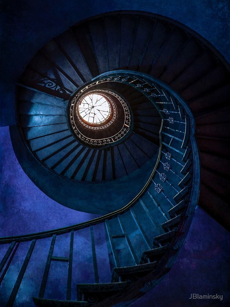 Abandoned spiral blue staircase by JBlaminsky