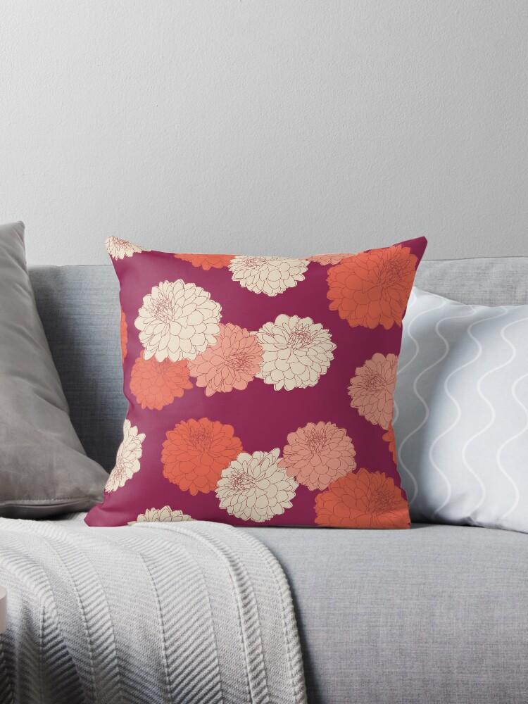 Amelia Floral I - Vintage Zinnia Flower Garden Pattern by Bstecdesign