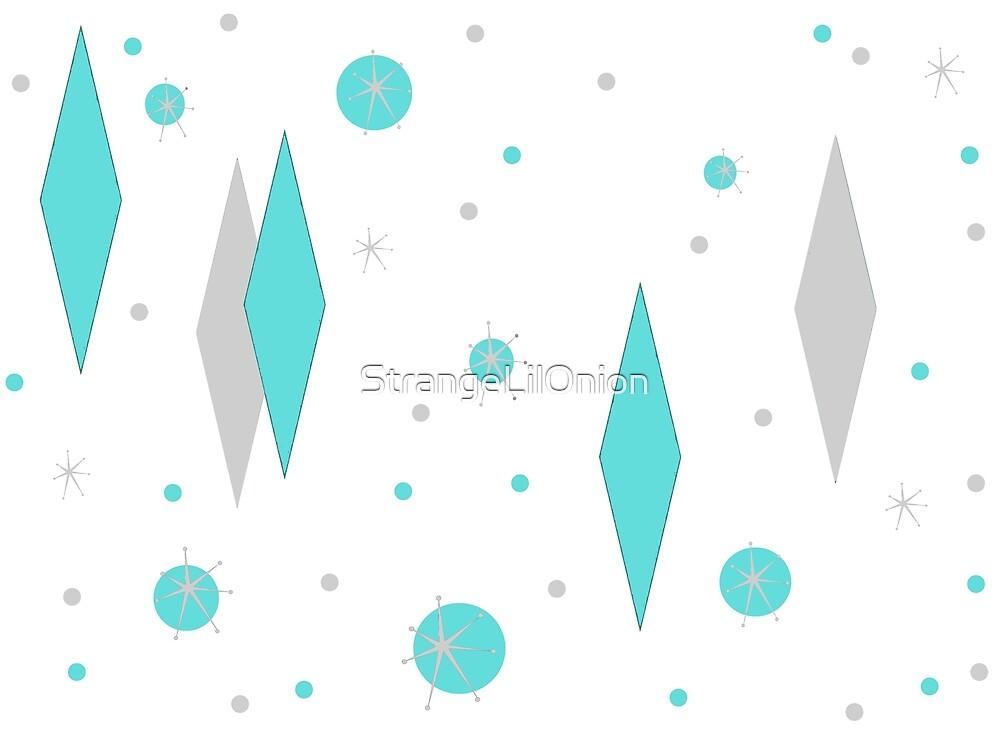 Retro Turquoise Diamonds and Starbursts pattern by StrangeLilOnion