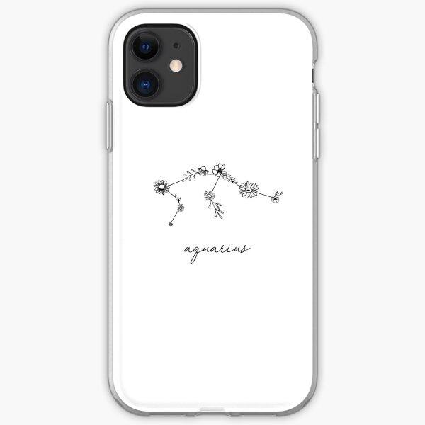 Aquarius Zodiac Wildflower Constellation iPhone Soft Case