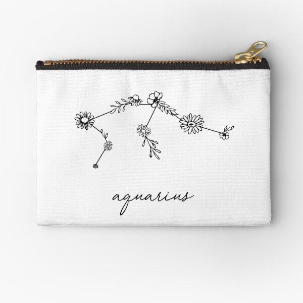 Aquarius Zodiac Wildflower Constellation Zipper Pouch