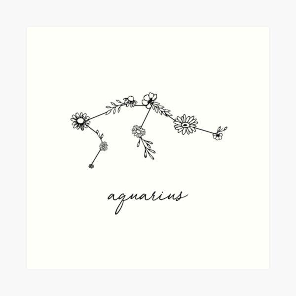 Aquarius Zodiac Wildflower Constellation Art Print
