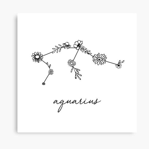 Aquarius Zodiac Wildflower Constellation Canvas Print