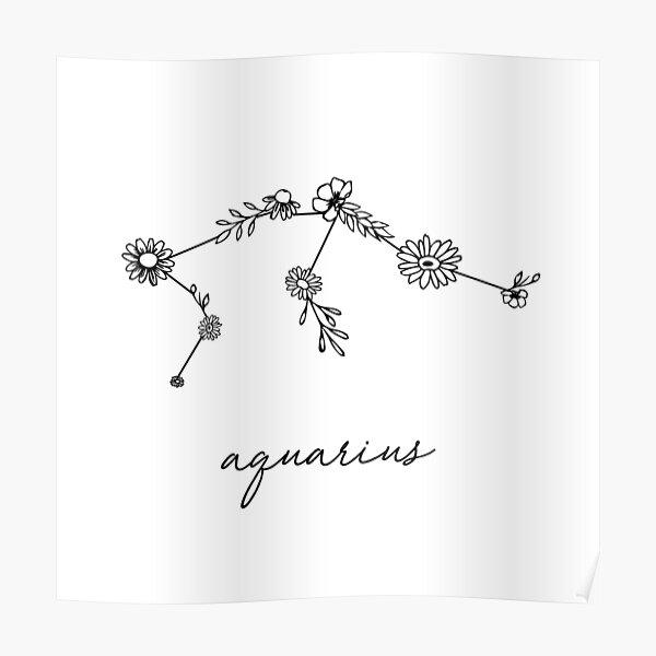 Constellation de fleurs sauvages du zodiaque du Verseau Poster