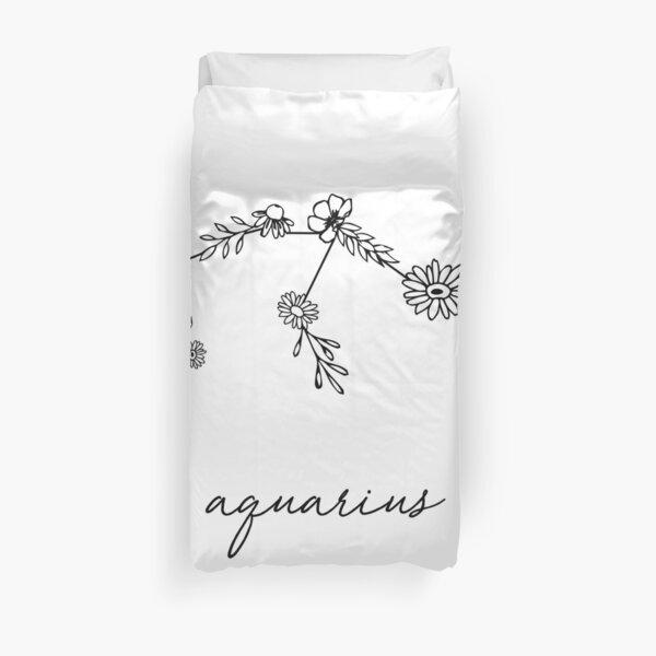 Aquarius Zodiac Wildflower Constellation Duvet Cover