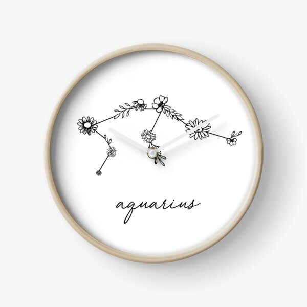 Aquarius Zodiac Wildflower Constellation Clock