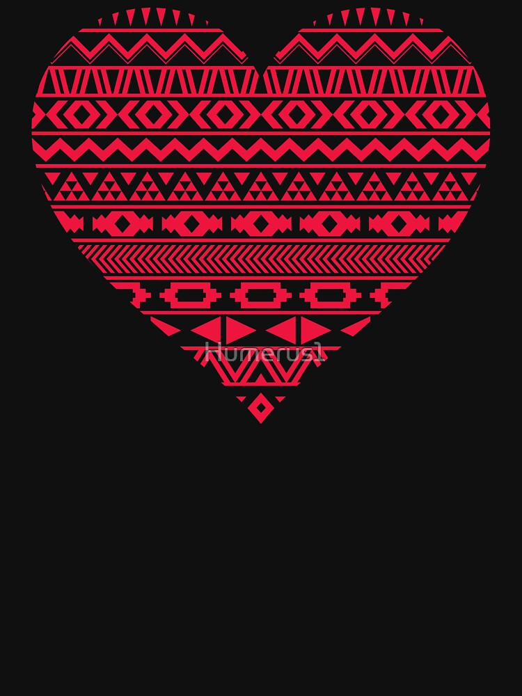 Tribal Pattern Red Heart Valentine's Day by Humerus1