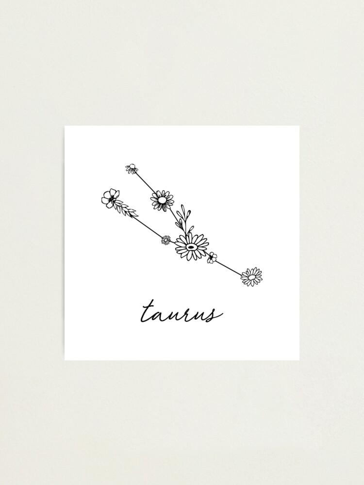 Alternate view of Taurus Zodiac Wildflower Constellation Photographic Print