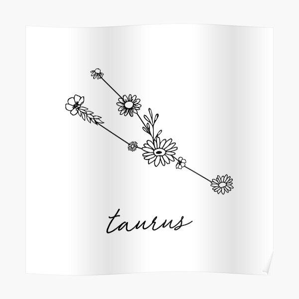 Taurus Zodiac Wildflower Constellation Poster