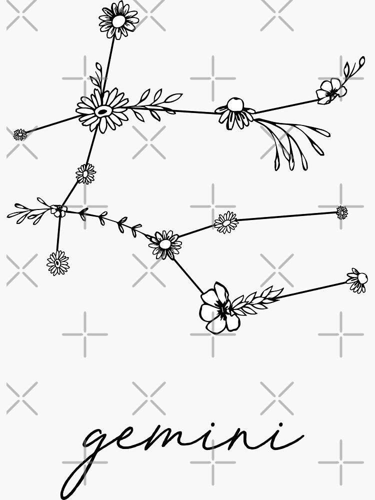 Gemini Zodiac Wildflower Constellation by aterkaderk