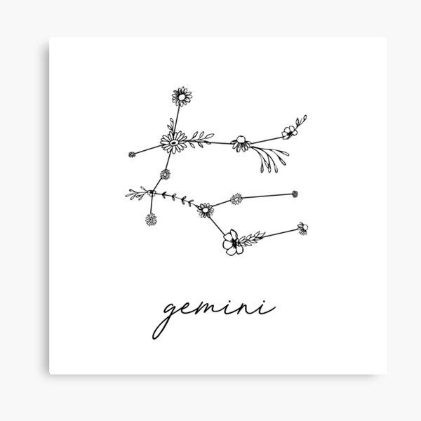 Gemini Zodiac Wildflower Constellation Canvas Print