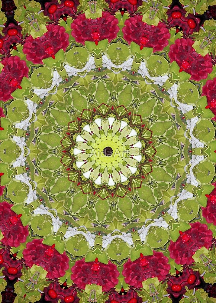 mandala red & green by AidaArt