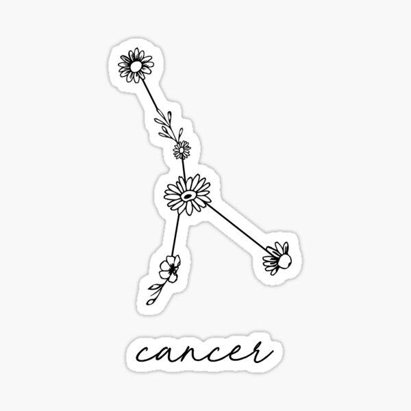 Cancer Zodiac Wildflower Constellation Sticker