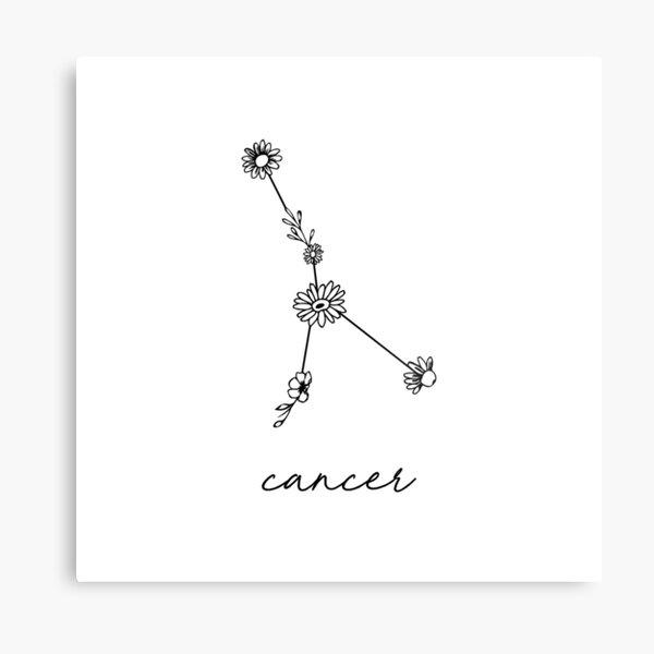 Cancer Zodiac Wildflower Constellation Metal Print