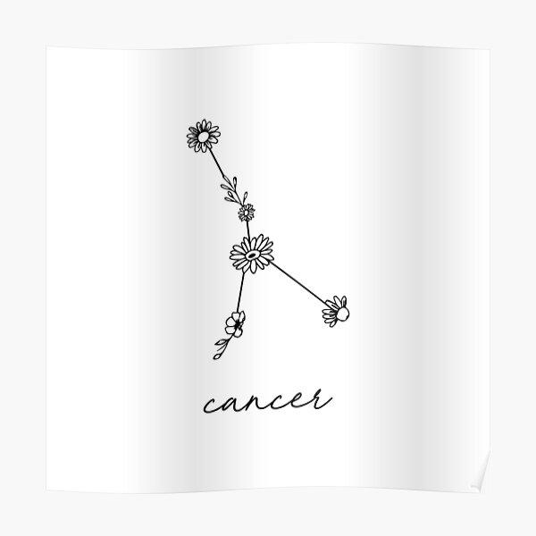 Cancer Zodiac Wildflower Constellation Poster