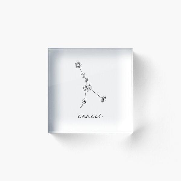 Cancer Zodiac Wildflower Constellation Acrylic Block