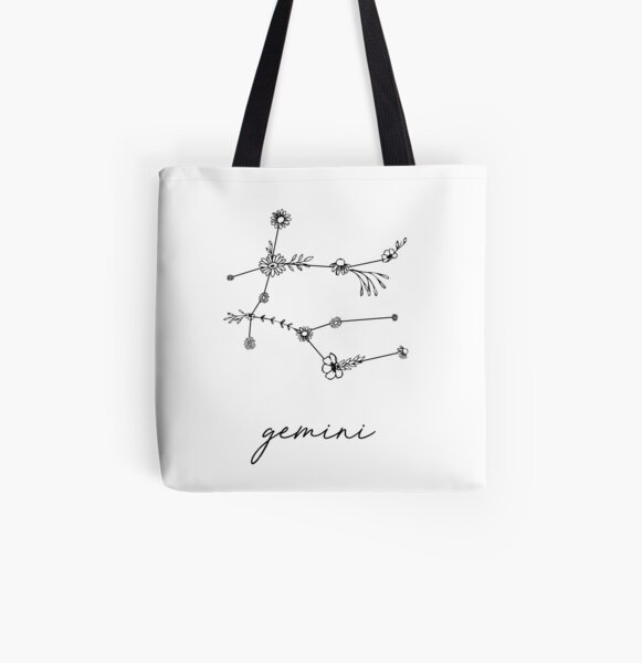 Gemini Zodiac Wildflower Constellation All Over Print Tote Bag