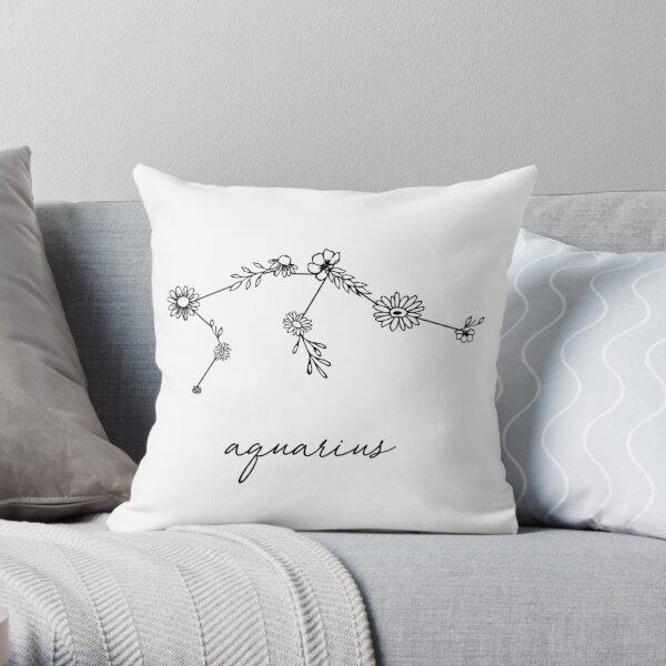 Constellation de fleurs sauvages du zodiaque du Verseau Coussin