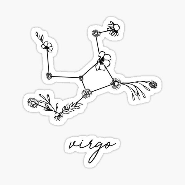 Virgo Zodiac Wildflower Constellation Sticker