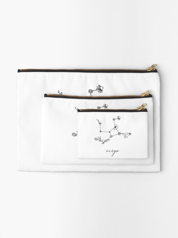 Alternate view of Virgo Zodiac Wildflower Constellation Zipper Pouch
