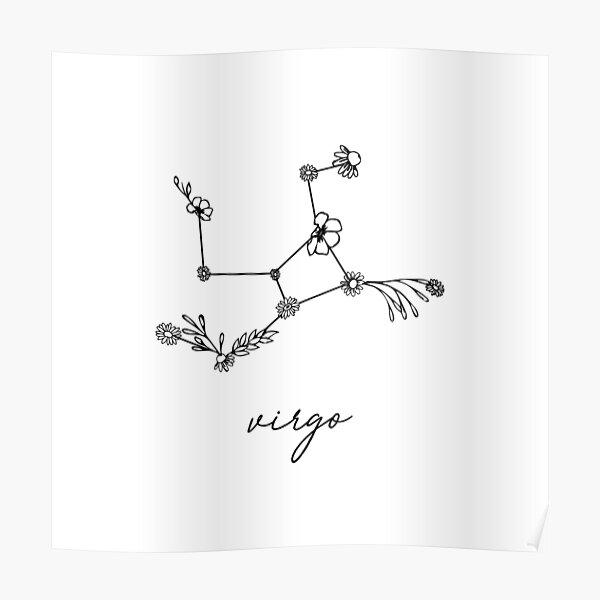 Virgo Zodiac Wildflower Constellation Poster