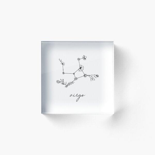 Virgo Zodiac Wildflower Constellation Acrylic Block
